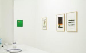 v.r.n.l. Wolfgang Lüttgens 3 Atelierbilder, 2012 (Mischtechnik, Aquarellfarbe u. Pigmentdruck auf Papier) (links: Malerei von Thomas Kemper), Foto: W. Lüttgens